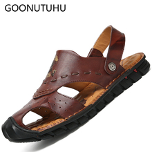 Summer fashion men's sandals casual leather shoes male breathable beach sandal man shoe brown black slippers or sandals for men цены онлайн