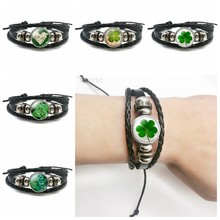 Lucky Bracelet Fashion Clover Shamrock Glass Cabochon Snap Button Multi-layer Leather Bracelet Handmade Jewelry Gift for Friends(China)