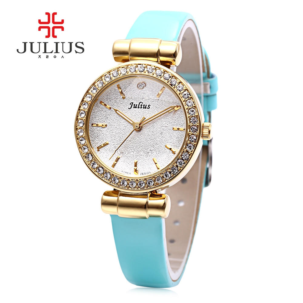 Julius JA - 778 Women Quartz Watch Stereo Star Glass Mirror Artificial Diamond Dial Female Wristwatch Girls Dress Watches
