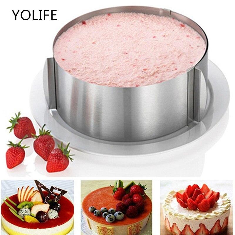 16-30 cm retrátil círculo de aço inoxidável mousse anel ferramenta de cozimento conjunto bolo molde tamanho ajustável sobremesa bolo ferramentas de decoração