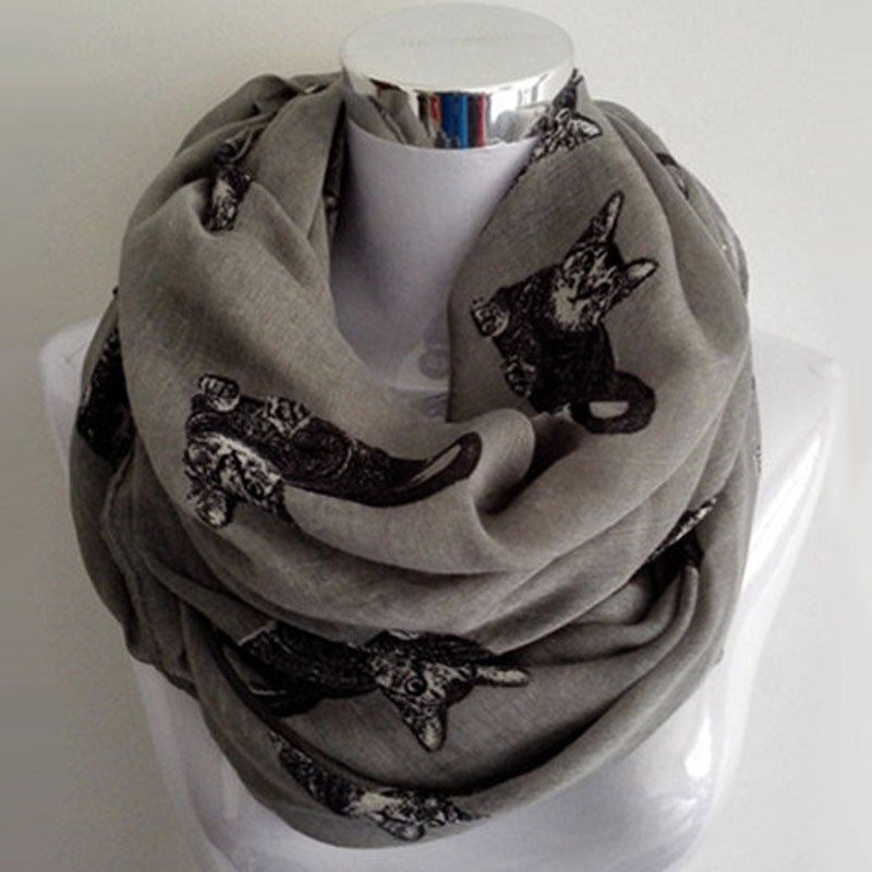 Big Cat Patten Infinity Scarf Fashion Spring Foulard Donna Donna Grigio Animal Print Loop Anello Sciarpe Cerchio