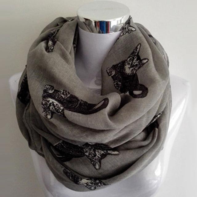 0c881a4093a8 Grand Chat Patten Infinity Écharpe De Mode Printemps Foulard Femmes Dames  Gris Imprimé Animal Boucle Anneau
