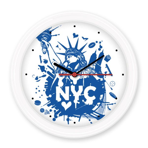 New York City America Statue of Liberty Pattern Silent Non-ticking Round Wall Decorative Clock Home Decal Wedding Decoration