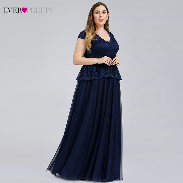 Navy Blue Evening Dresses Ever Pretty A-Line V-Neck Bow Sashes Elegant Evening Gowns Plus Size Lace Formal Dresses Robe Longue 2