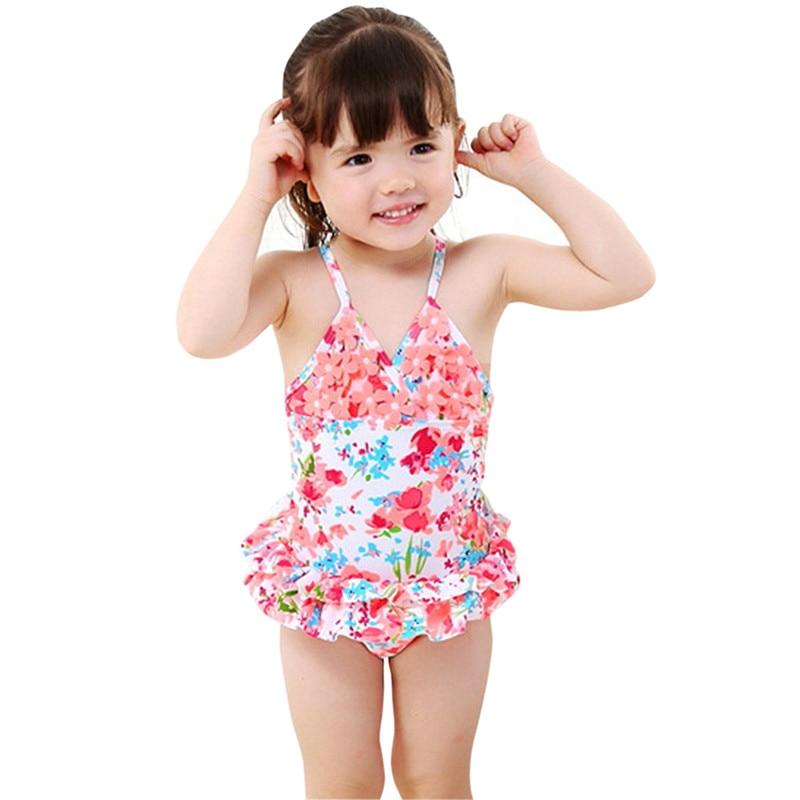 5d121a5352c40 Dailiwei 1-8T Baby Girls Swimwear Toddler Cute Floral Ruffle Swimsuit One  Piece Swimming Wear Bathing Suit Beachwear Summer