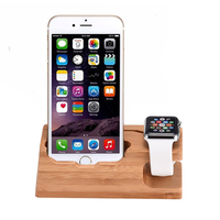 Wooden Charging Base Of The Cell Phone Bracket Provides The Support Base For The Apple Watch