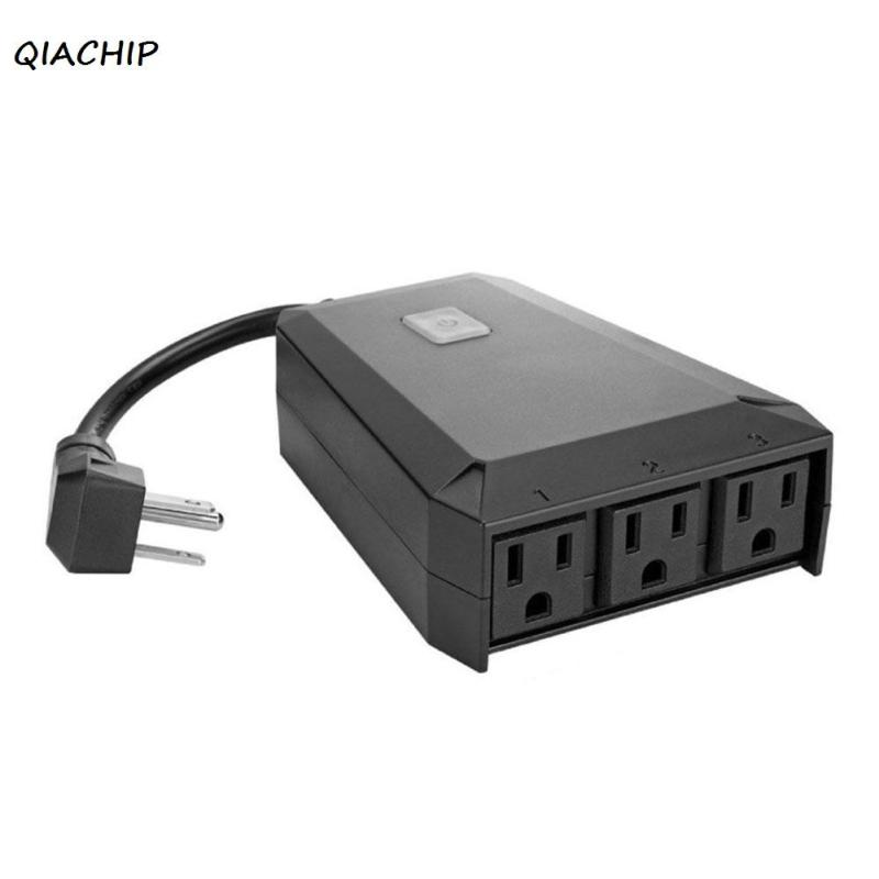 QIACHIP Wireless Wifi Smart Plug 1 In 3 Out <font><b>Outdoor</b></font> Remote Control Outlet Switches <font><b>Light</b></font> Timer Socket Works with Amazon Alexa H4