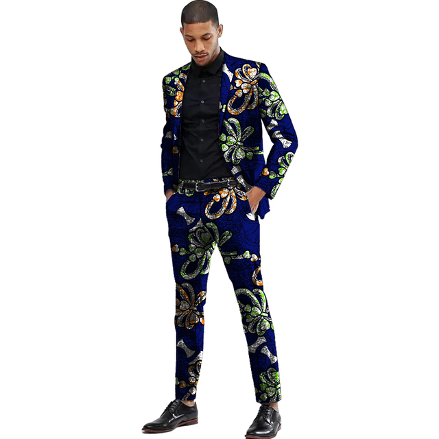 Africa Style Men Suits Dashiki Print Suit Jacket And Pant  4