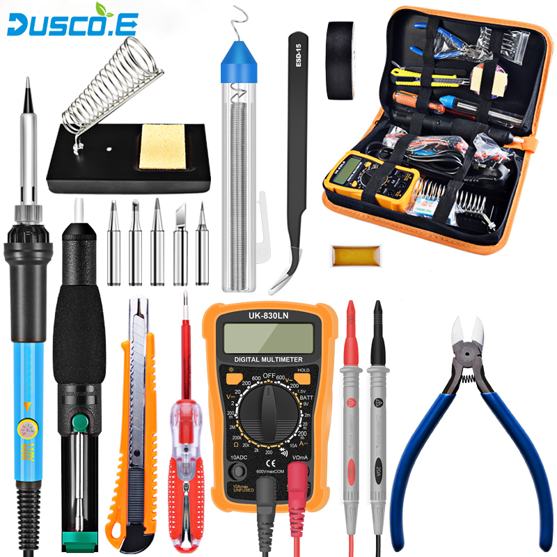 110V 220V 60W Temperature Electric Soldering Iron Kit + Digital Multimeter Welding Tools For Professional DIY Transistor Tester pro skit dp 3616 professional diy soldering aid tools 6 pcs