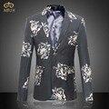 MIUK 2017 Новый Большой Размер Цветочный Блейзер Мужчины Бренд Одежды м ~ 6XL Высокое Качество Синий Серый Мужчины Blazer Slim Fit Blazer Masculino