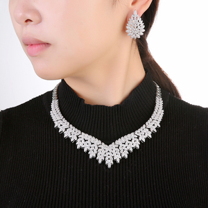 Image 5 - Hadiyana Trendy Noble Micro Pave Cubic Zirconia Dubai Jewelry Sets Latest Luxury Bridal Wedding Jewelry Set For Women TZ8025