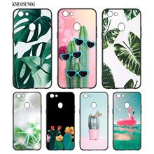 Black Silicon Soft Phone Case Cactus Summer Print For OPPO F5 F7 F9 A5 A7 R9S R15 R17 Bag