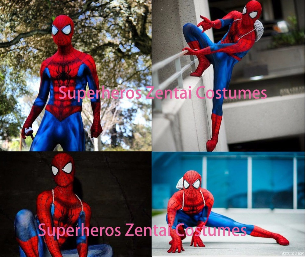 Spiderman Costume Full Body Lycra Spandex 3D Print Halloween Spidey Cosplay Suit with Removable Mask Spider-man Lenses
