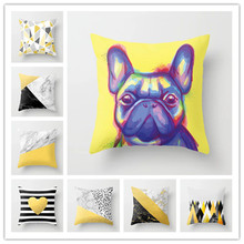 Geometric Yellow Gray Black Throw Pillows Christmas Halloween Decorative Pillow 45x45 Cotton Polyester Pillow Cushion Covers цены