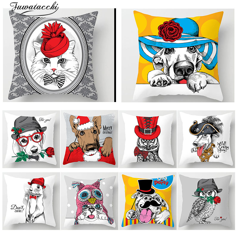 Cat Dog Printed Home Decorative Chair Cushion Cover Pillow Case Christmas Animal