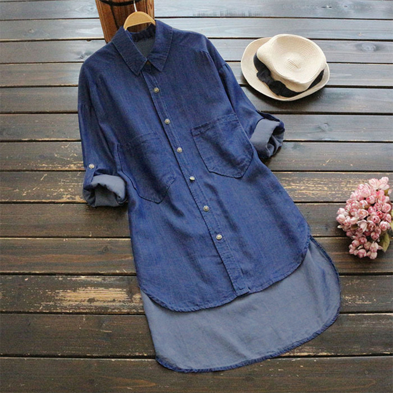 2018 New Spring Casual Cowboy Shirt Female Demin Long Sleeve Plus Size S-5XL   Trench   Turn-down Collar Shirt Jean Blue Blouse #TH