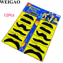 WEIGAO 12Pcs Halloween Party Creative Funny Costume Pirate Party Mustache Cosplay Fake Moustache Fake Beard For Kids Adult Decor(China)