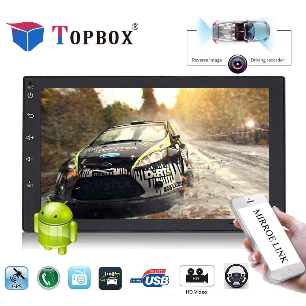 Topbox 2 Din Car Radio GPS Navigation Autoradio 7 Android Wifi GPS Bluetooth DVR Car Audio Player USB Mirrorlink Stereo Camera