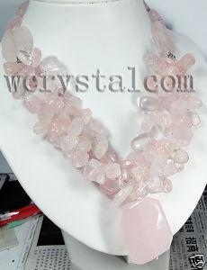 Natural quartzo rosa rosa pedra colar