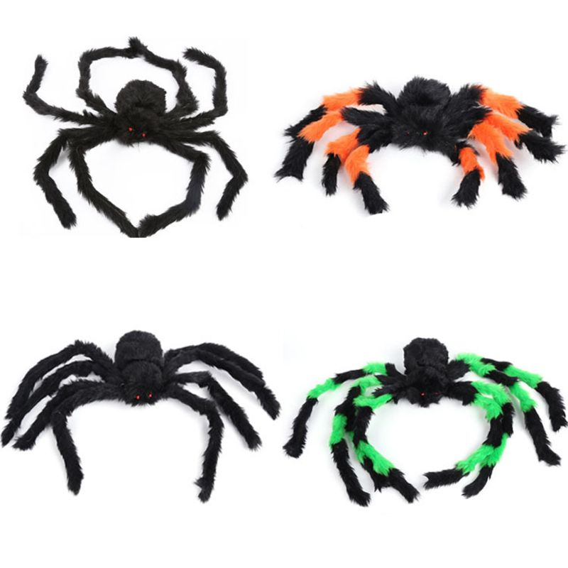 1 Pc 3 Sizes Halloween Plush Spider Toy 2 Styles Optional Realistic Spider Halloween Party Celebration Venue Arrangement Props