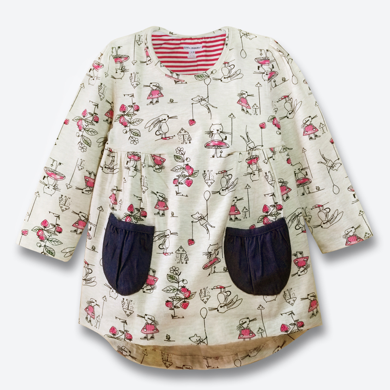 New Baby Girl Dress Cotton Long Sleeve Kids Dresses For Girls Spring Fall Good Quality Girls Clothes Children Dresses 1-6 Years fashion cotton girls dress stripe belt 2pcs kids dresses for girls black long new year costumes for kids for2 7t baby girl