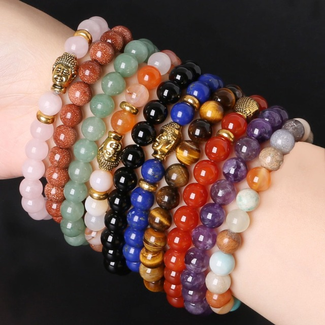 8mm Buddha Bracelets & Bangles Trendy Natural Stone For Women Famous Brand Beaded Bracelet Jewelry 2017 New Pulseras