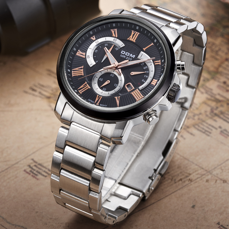 DOM 2016 Mens Watches Top Brand Luxury Quartz Waterproof Watch Relojes Stainless Steel Casual Brand Men