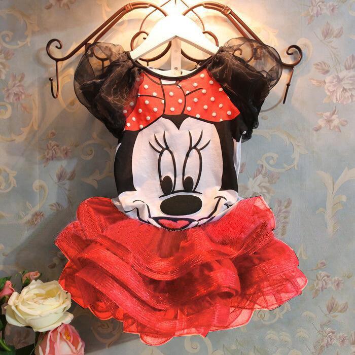 Vestido curto da disney para o verão, 2 peças, vestido minnie, vestido tutu, de malha, mickey, princesa, vestido de baile