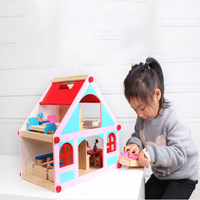 39*26*36 cm Wooden Doll House Pretend Toy Boys Girls Wooden Doll Villa with Miniature Furniture and Puppets Baby Birthday Gift