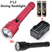 Chinese Day 100m Depth Light Waterproof 3*CREE XM-L2 LED Underwater Diving Flashlight for Diver+2pcs 18650 Battery+Dual Battery Charger