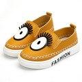Lindo bebé de los niños zapatos de lona causal novedad solo ojo plana zapatos para 1-6yrs niños pequeños niños niñas luz zapatos de ocio caliente