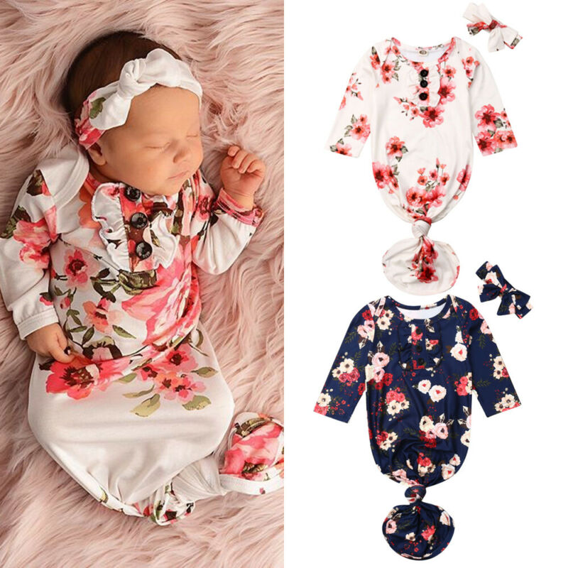 PUDCOCO Hot Newborn Baby Infant Floral Swaddle Blanket Wrap Sleeping Bag Headband 2pcs Outfits 0-12M