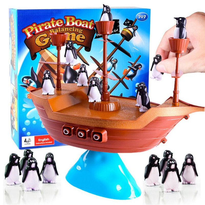 Creative Pirate Boat Penguins Balancing Game Interactive Balance Game Children Learning Educational Toy Kids Desk Indoor Toys