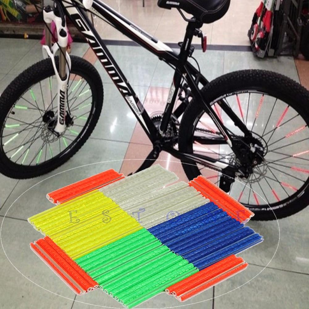 12Pcs Bicycle Bike Wheel Rim Spoke Clip Tube Strip Reflector Reflective New