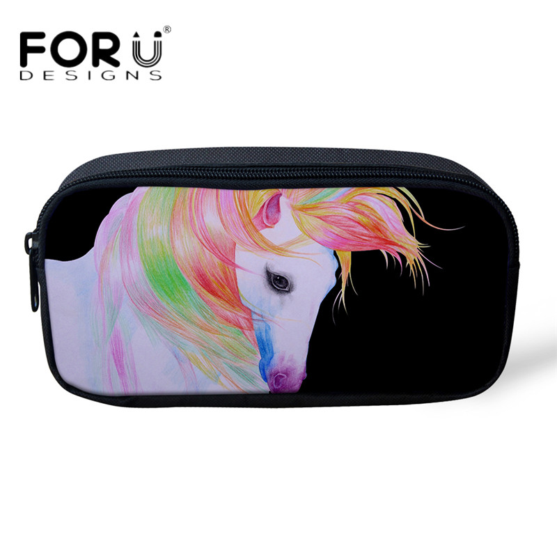 FORUDESIGNS Women Professional Makeup Bag 3D Animal Horse Girls Pencil Case Bags Pen Pouch for Child School Supplies Stationery
