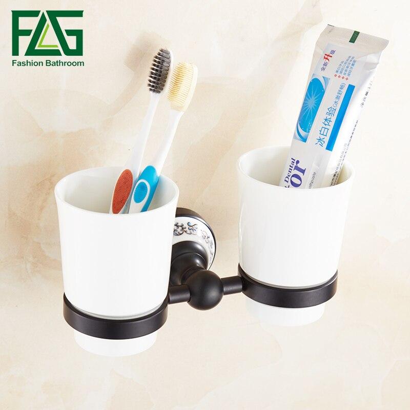 FLG Bathroom Cup Holder ToothBrush Tumbler Holder Space Aluminum Black Wall Mounted Bathroom Accessories flg bathroom accessories wall mounted tumbler holder cup
