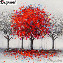 Dispaint Full Square/Round Drill 5D DIY Diamond Painting Tree red scenery Embroidery Cross Stitch 3D Home Decor Gift A10997