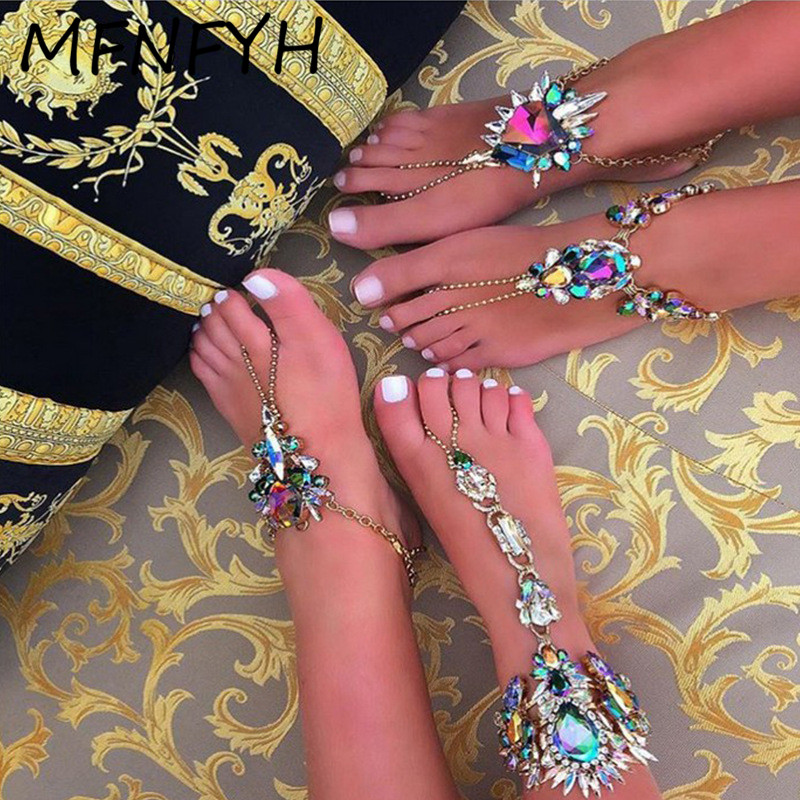 Mfnfyh unique colorful big flower crystal silver ankle bracelet long foot chain boho style maxi anklets