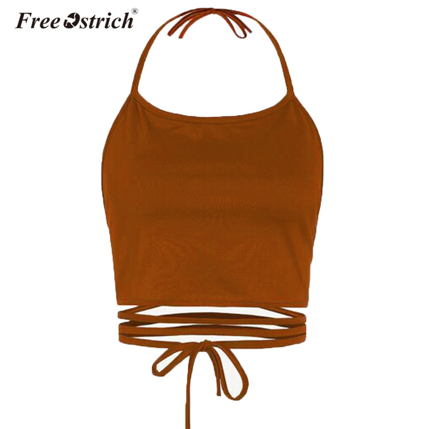 Free Ostrich Women Camis Short Tops Bandage Sleeveless Lace Up Halter Backless Pure Colour Soft Tank Tops Overalls Bodycon