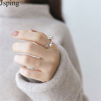 Jsping Authentic 925 Sterling Silver Ring Fasion Simple Style Double Silver Round Ball Open Rings For