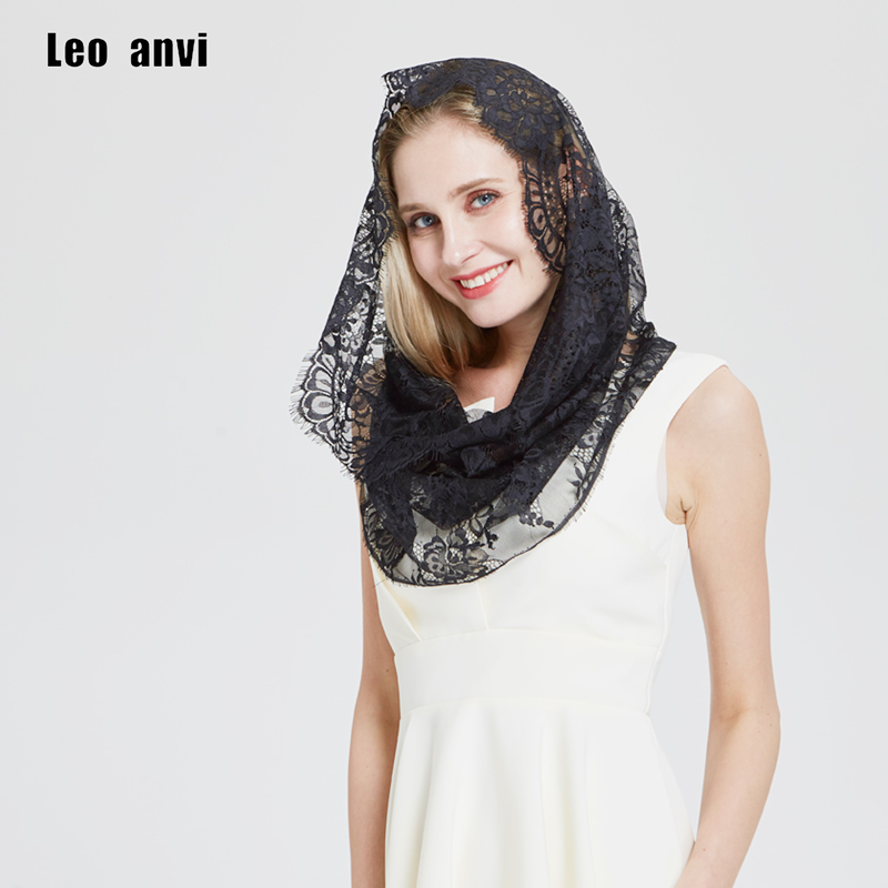 fashion Bridal mantilla shawl Wedding scarf women Spanish floral Lace  Religious Head Covering