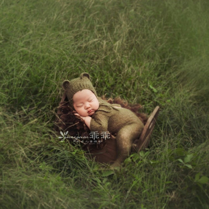 Newborn Photography Props Baby Boy Clothing Footed Pant Pattern Newborn Bear Hat Baby Hooded Romper Prop