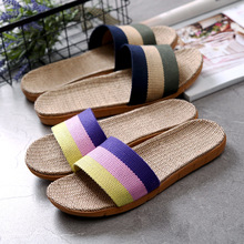 Flax Slippers Home Couple Indoor Slippers, Cotton Slip-proof Thick-soled Summer Sandals For Men Women Multiple styles colors
