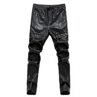 Mens siyah deri pantolon erkek tayt pantolon suni deri pu seksi motosiklet sıska pantolon 28-36 AYG180