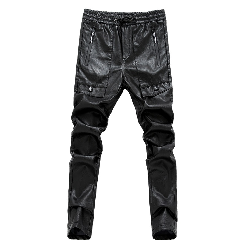 Mens black leather pants mens tights pants faux leather pu sexy motorcycle skinny trousers 28-36 AYG180