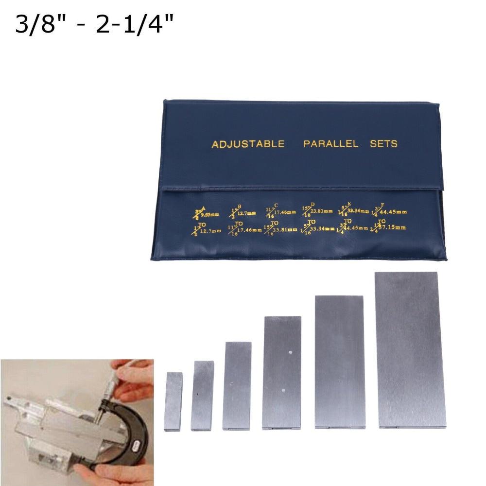 """6 PC 3//8/"""" 2-1//4/"""" Adjustable Parallel Set Precision Parallel Measurement"""
