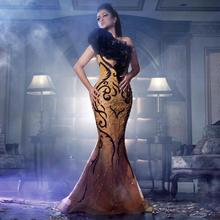 2017 Beads Sequins Embroidery Arabic Lengthy Night Clothes Gold Mermaid Promenade Robes one Shoulder Formal Costume vestido de festa