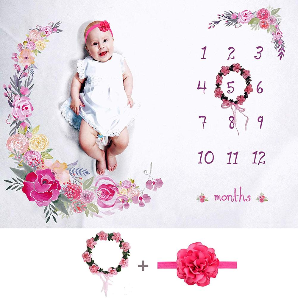 Flower Printed Baby Monthly Blankets Swaddle Wrap Soft Newborn Blanket With Floral Wreath Headband Photography Props Background