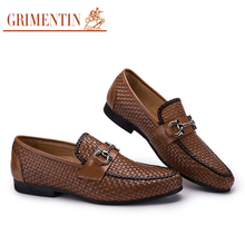 GRIMENTIN Fashion Braided Mens Shoes Casual Loafers Slip On Genuine Leather Luxury Brand Designer Flats Italian Casual Shoes Men