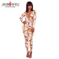 Sebowel Wit Sexy Diepe V-hals Gouden Ketting Print Skinny Jumpsuit Vrouw Strakke Bodysuit Overalls Night Club Rompertjes Party Speelpakje